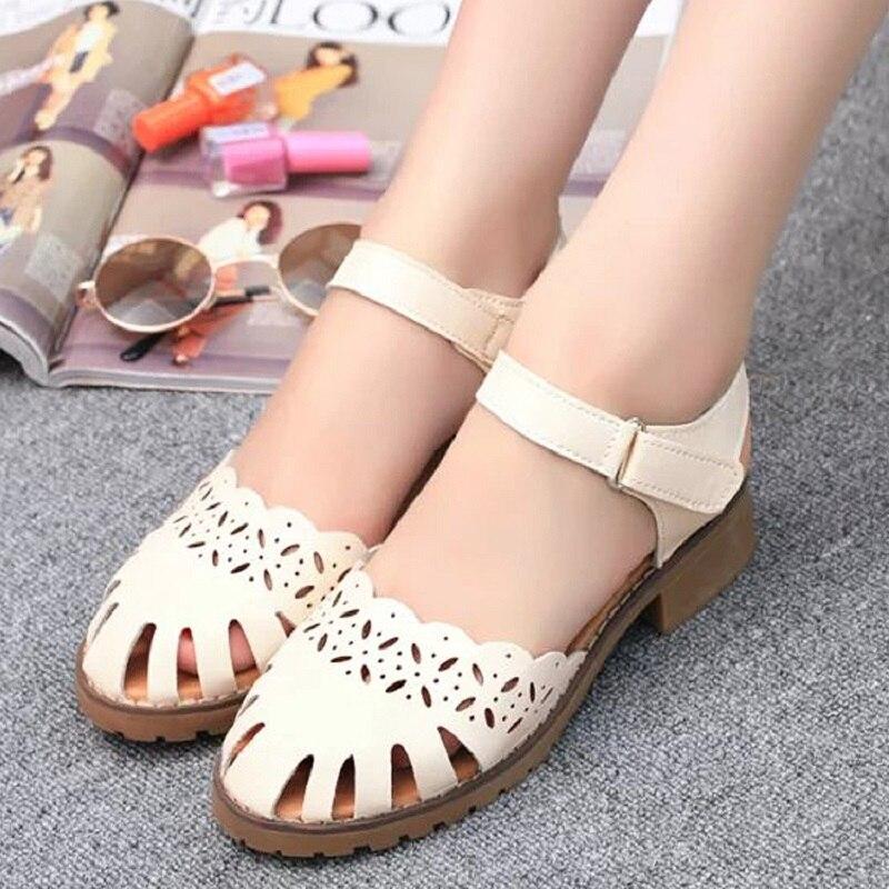 The new summer new font b women s b font sandals flat shoes low heeled rough