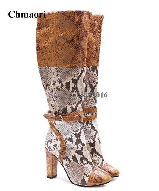 804bb61591a Nueva moda de invierno de punta redonda de cuero de serpiente hasta la  rodilla botas de