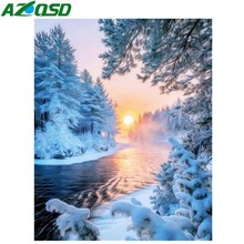 AZQSD Diamond Painting Snow Scenery DIY Full Square Drill Embroidery Set Winter Landscape Cross Stitch Home Decor