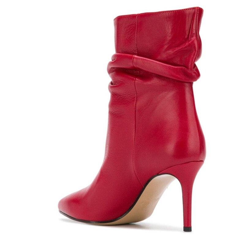 De Cuir Bottes Glissement Bout Talons Sur Femmes Mode Designer Stiletto Cheville Fête Picture Hauts as As Des Pointu Plissée Picture Chaussures Chelsea En 6IO6ZnqTwW