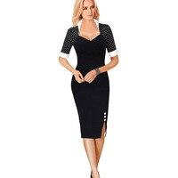 Frauen kleider schwarz weiß dots pinup-elegante vintage rockabilly colorblock tunika arbeit casual bleistift bodycon wiggle dress