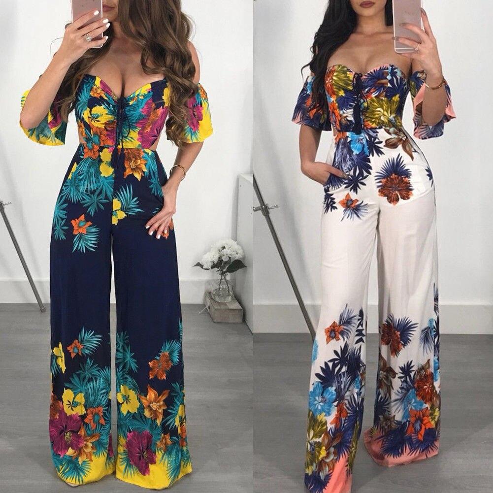 Hot Backless Jumpsuit 2019 Women Off Shoulder Clubwear Backless Playsuit Casual Short Sleeve Party Jumpsuit Romper