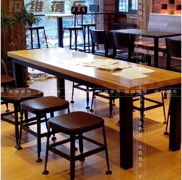 Solid Wood Coffee Tables Curator Long Table Restaurant Dessert Buffet  Starbucks Coffee Bar, Wrought Iron