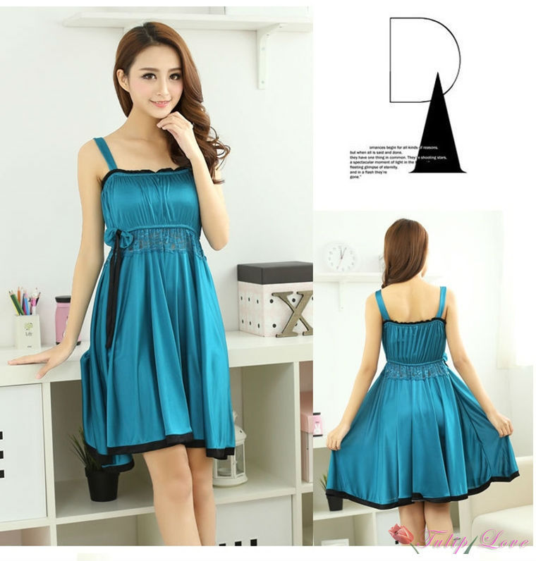 3fb54dc5bdcb 2016 new Turquoise Womens Suspenders Dress pajamas nightgown ladies lace  dress night gowns sleeping wear-in Dresses from Women s Clothing on  Aliexpress.com ...