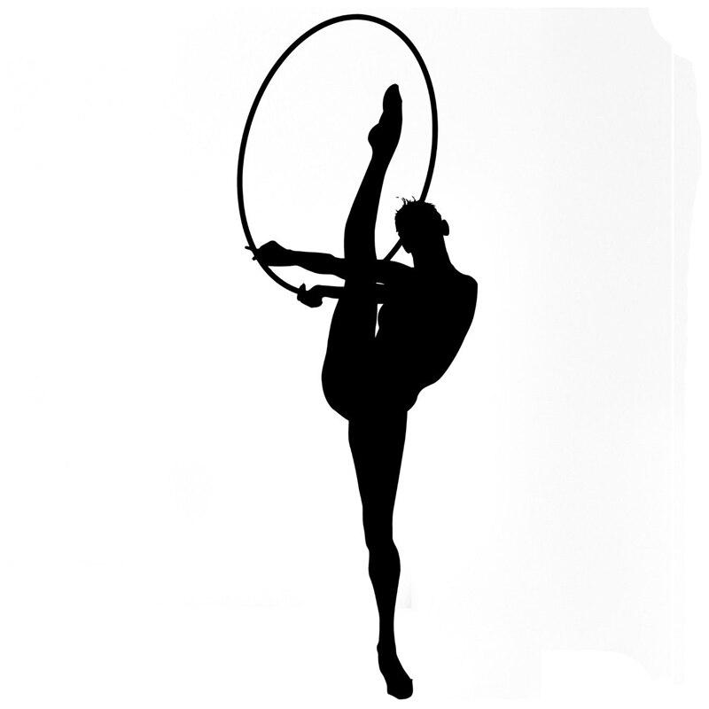6.5CM*18.5CM Creative Interesting Gymnastic Girls Sport Acrobatics Ribbons Car Sticker Vinyl Black/Silver S9-0486