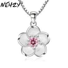 NEHZY de Plata de Ley 925 nueva mujer de moda de la marca fresco Rosa hecho a mano de COLLAR COLGANTE bonito melocotón colgante de joyería de lujo