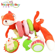 stroller bed educational car kids fun fox bed surround artistic gift ring paper cognition rattle Happy Monkey soft baby toy