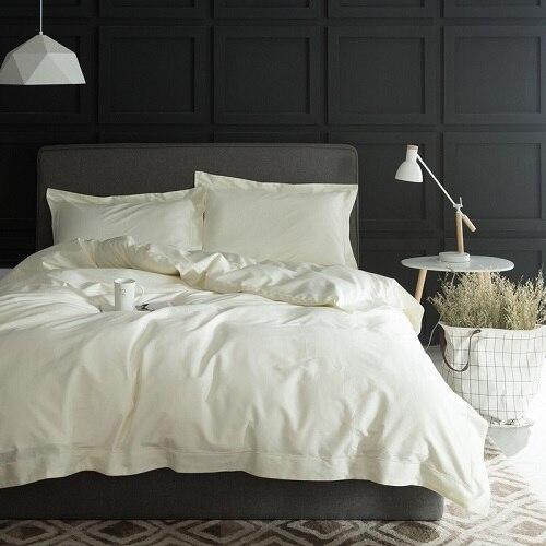 1000TC Egypt cotton White Color Bedding set 4PCS KING QUEEN SIZE tribute silk Hotel Bed set Cotton bed linen bedsheet set26