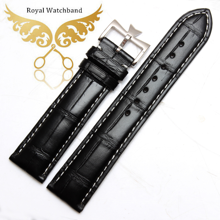 Promotion! 20*18mm Black Genuine Alligator Leather Watch Band Strap Stainless Steel Buckle Free Shipping new mens genuine leather watch strap bands bracelets black alligator leather 18mm 19mm 20mm 21mm 22mm 24mm without buckle