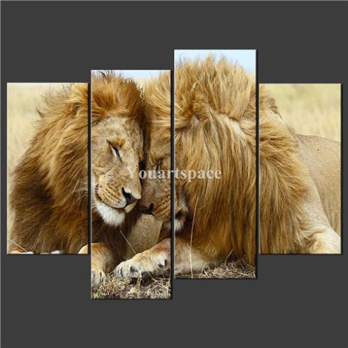 4 Piece Wall Art Painting Pictures Print Canvas Lions Love Cascade Picture Home Modern Decoration Oil - Youartspace store