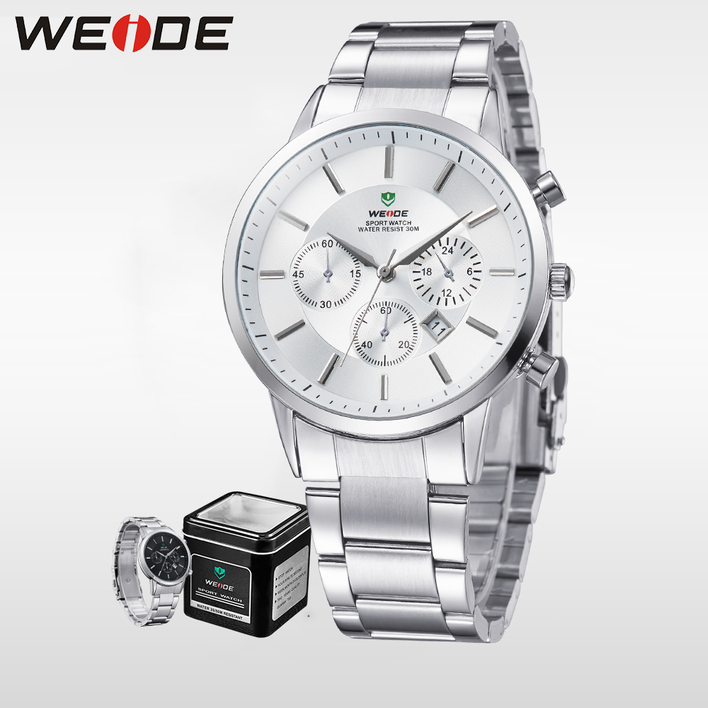 WEIDE Luxury Brand Analog Quartz Watch Men White Watches Sport Stainless Steel Army Military Fashion Waterproof Clock WH3312 weide fashion casual quartz watch men sport watches famous luxury brand stainless steel military army relogio masculino wh3305