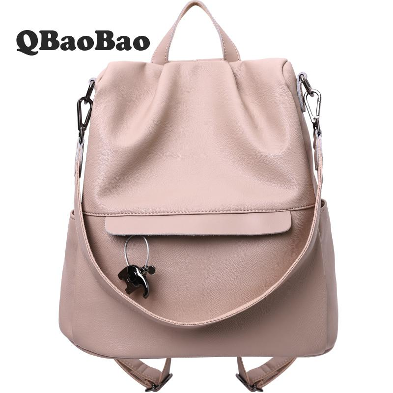 9f9d81e03d Detail Feedback Questions about Backpack Leather Again Theft Women Backpack  Soft Light Female Bag New Design Travel School Bags Pink Red Black on ...