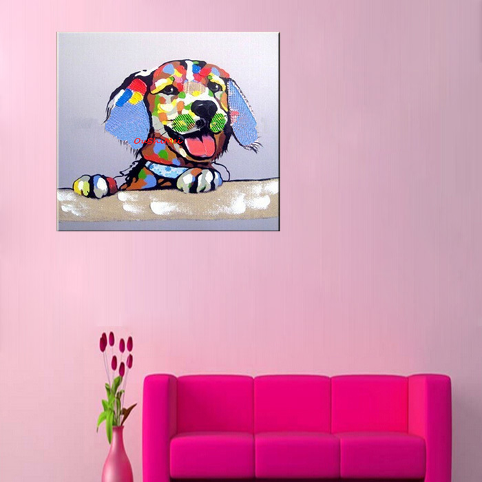 Lovely Dog oil painting scenery paintings Wedding decoration hang a ...