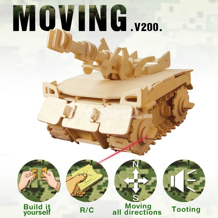 Wooden Assembling Simulation Children Toys Military Remote Control Tank Models