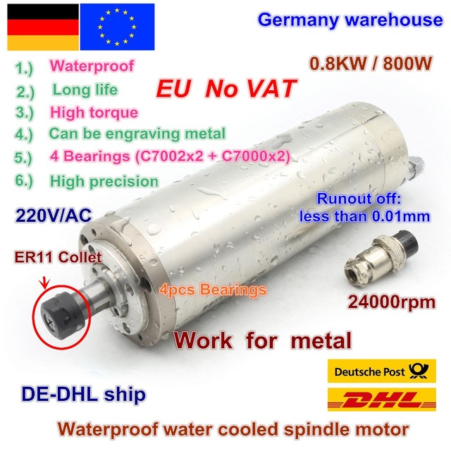 De 送料付加価値税 800 ワット 0.8kw ER11 防水スピンドルモータ 4 ベアリング 220 380v 水冷スピンドル CNC 高トルク高精度
