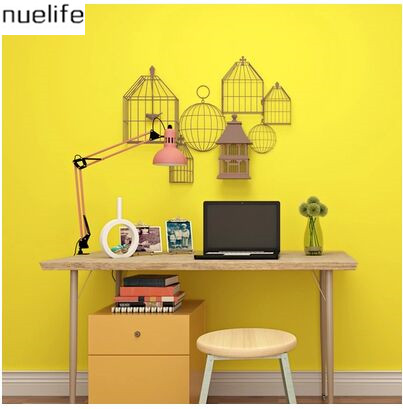 Solid color wallpaper modern simple environmental for Yellow living room wallpaper