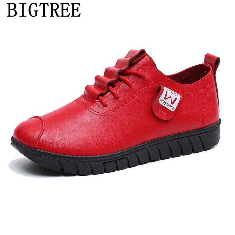 Kadın rahat ayakkabılar bayanlar kış çizmeler deri ayakkabı kadın moda ayakkabılar 2019 kadın zapatos de mujer chaussures femme ayakkabi