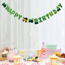 Gelukkige Verjaardag Tractor Auto Vilt Bunting Banner Viering Party Kindergarden Nursery Kamer Decoraties(China)