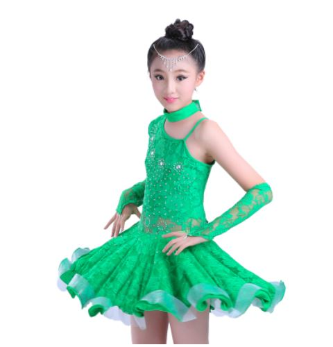 Rumba latin dance dress tango samba 110-170cm pink yellow green competition fashion professional girl child dress stage costume