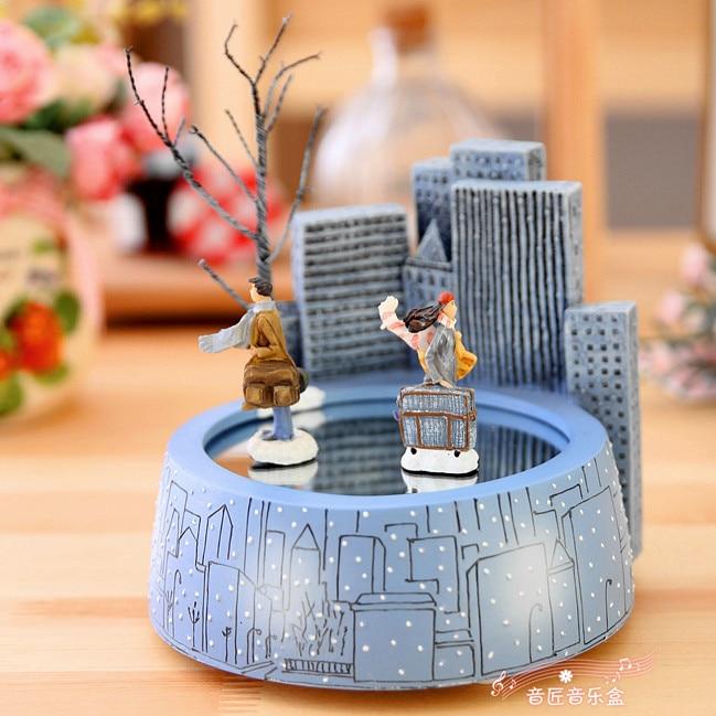 Jimi magneet muziekdoos romantische roterende liefhebbers muziekdoos verjaardagscadeau kerstcadeaus