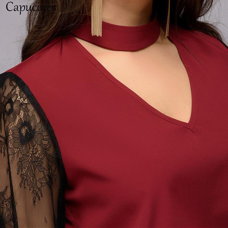 Blusas 2019 Moda Gasa Mujeres Collar White wine cuello Tops Manga Costura Encaje De Red V Capucines Camisetas Primavera Dama Las Larga Casual Sexy Aqwxv08T