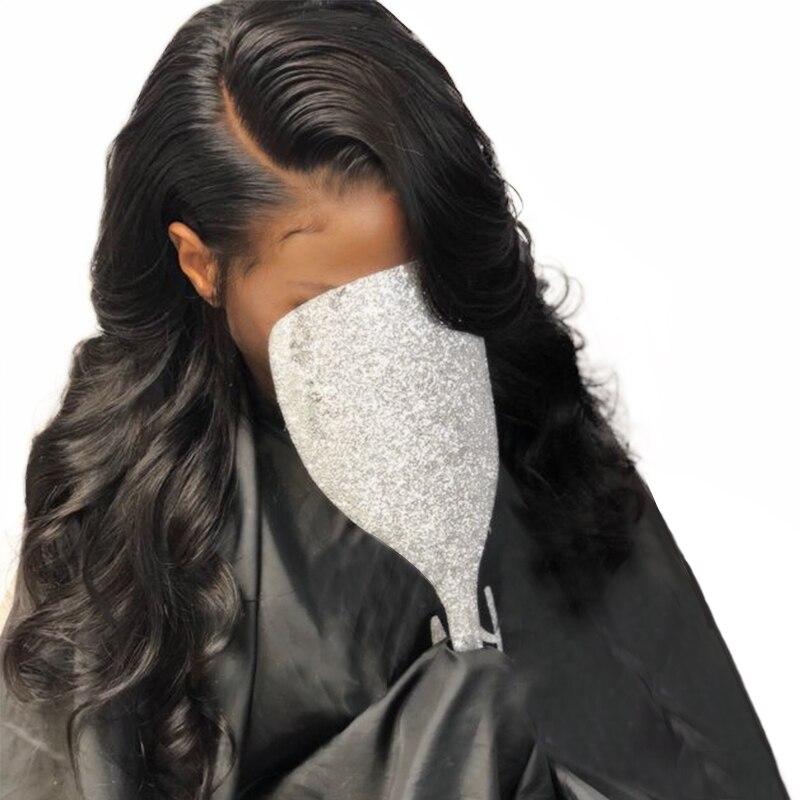 Полный шнурок человеческих волос парики для Для женщин натуральный черный объемной волны полный парики шнурка с волосами младенца 180 плотн...