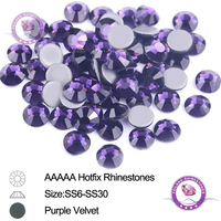 AAA Top quality All Size Purple Velvet Crystal Stones Hot Fix Rhinestones Sewing Clothes Flatback Strass Glass Garment Accessory
