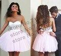 Cheap prom dress sweetheart organza curto vestidos de baile 2017 lantejoulas luz pink party dress com sash dama de honra frete grátis