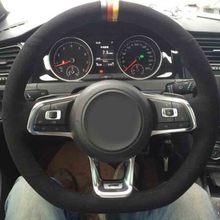 Автомобиль-Стайлинг Аксессуары замша рулевого колеса автомобиля Чехлы для мангала для Volkswagen VW Гольф 7 р R-LINE GTI