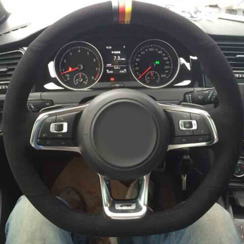 Car-styling Accessories Suede Leather Car Steering Wheel Covers For Volkswagen VW Golf 7 R R-LINE GTI