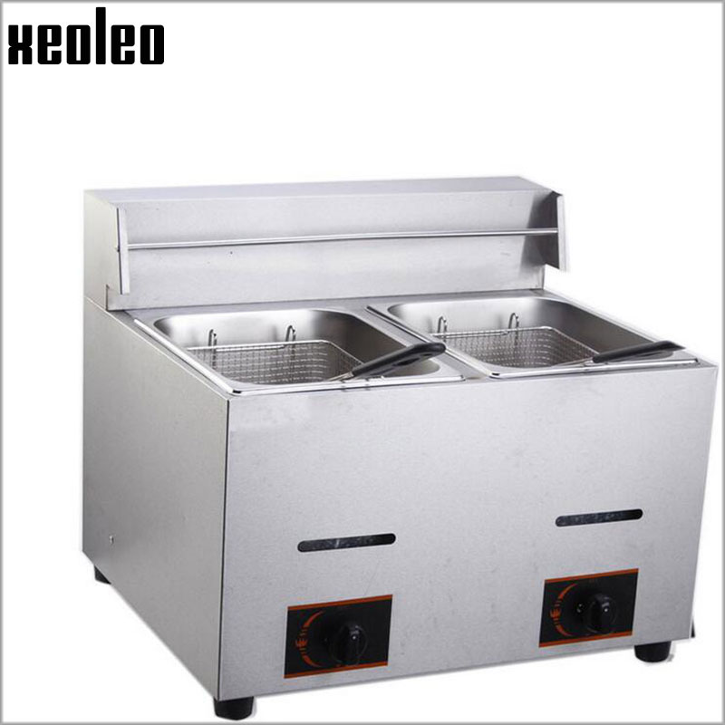 XEOLEO 6L*2 Double tank Gas fryer Commercial LPG Frying machine Stainless steel Deep Fryer French fries machine Fry chicken stainless steel double tank electric fryer machine 2 5kw 16l electric commercial deep air fryer french fries fried chicken fryer