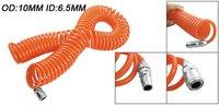 Free Shipping PU Spring Spiral Pneumatic 15M Length 10mm OD 6.5mm ID Tube Hose Air Brake PU Coil Hose Tube