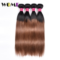 Wome Ombre Brazilian Straight Hair 4 Bundles T1B/30 Black to Brown Color Human Hair Extensions 10 24 Double Weft Hair