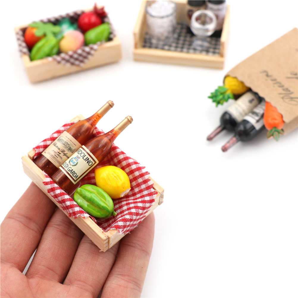 1:12 Doll House Mini Wine Bottles Fruit Box Candy Food Toy Match For dollhouse Collectible Gift Miniature Accessories