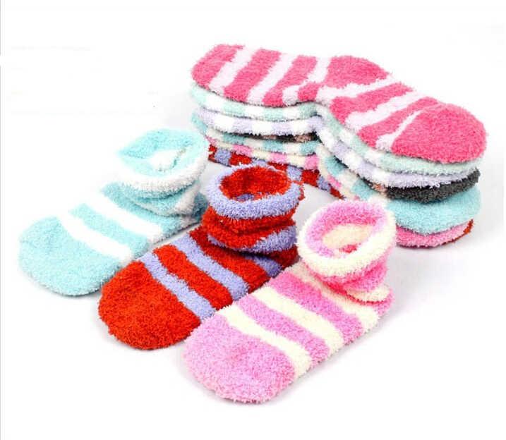 1 paar Merk Winter Herfst Baby Meisjes Kids Jongens Sokken Kinderen Warm Gestreepte Warm Terry Coral fluwelen goedkope stuff gift