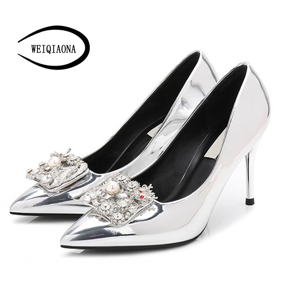 Weiqiaona Haute Femmes Argent Talons Brand Sexy De New Pompes Mariage Praty Pointu Bling Chaussures Cristal Robe Design Luxe MGSzVqpU