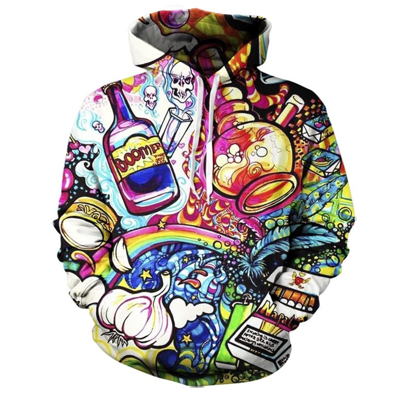 f1852ab7e0 2017 sweatshirt Hoodies Men women Cool creative 3D print Bottle skull  ghosts fashion hot Style Streetwear Long sleeveClothing