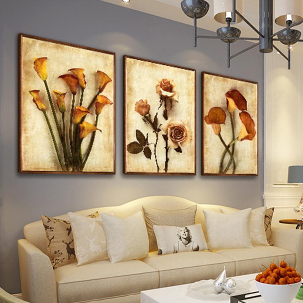 3 Panel Modular Painting Flower Abstract Print Frameless Canvas Art ...