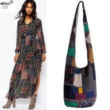 Винтаж хиппи Сумка в стиле бохо Для женщин сумка через плечо сумки хлопок Для женщин Сумки книги школьная сумка дорожная сумка мешок