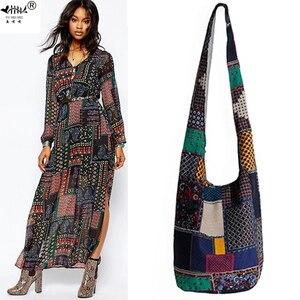 Image 1 - Винтаж хиппи Сумка в стиле бохо Для женщин сумка через плечо сумки хлопок Для женщин Сумки книги школьная сумка дорожная сумка мешок