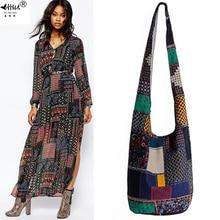 Vintage hippy hippie boêmio bolsa feminina ombro crossbody sacos de algodão bolsas femininas livros escola viagem balde saco