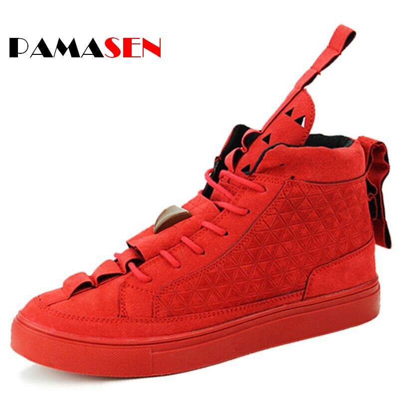2017 Unisex Patrick Flat Triangle Shoes Men's High-help Casual shoes Trend Red Black Nubuck Couple For Men