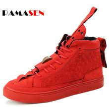 2017 Hot Sale Unisex Patrick Flat Triangle Shoes Men's High-help Casual shoes Trend Red Black Nubuck Casual Couple Shoes For Men