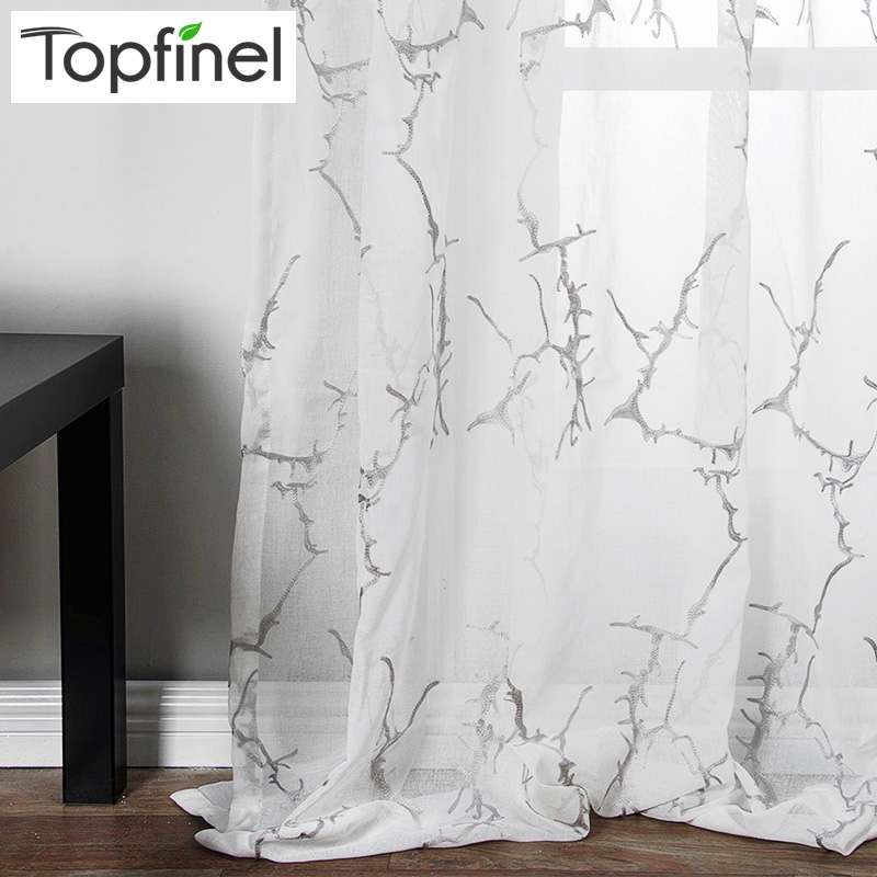 Topfinel Branch Pattern Embroidered White Sheer Curtains For Living Room Bedroom Tulle Curtains For Kitchen Window Treatments