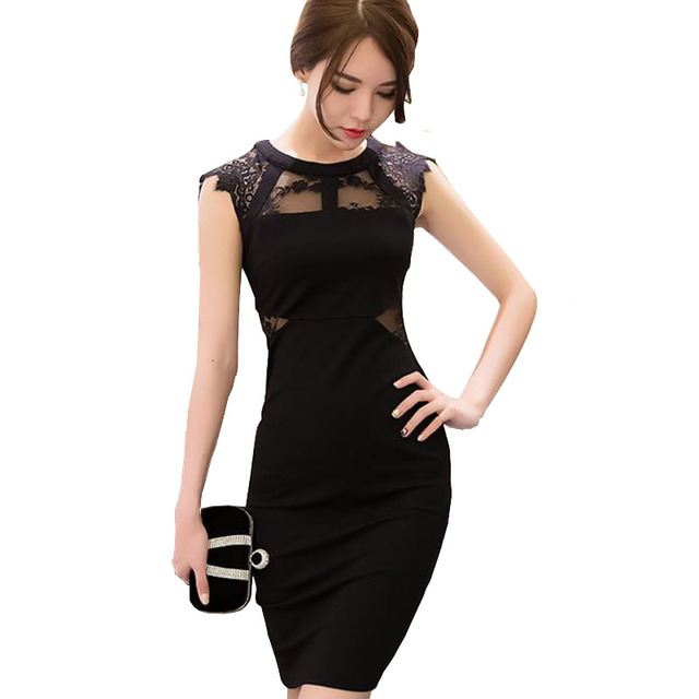 Summer 2018 Womens Little Black Dress Sexy Skinny Lace Patchwork