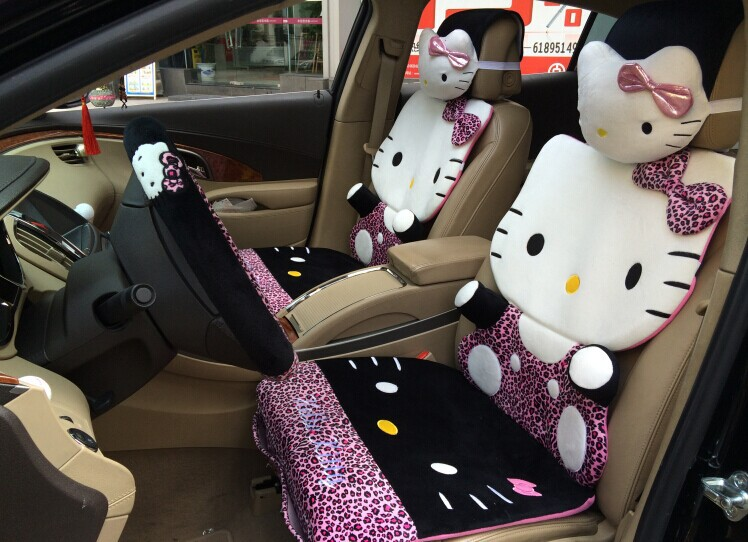 new arrival cute leopard hello kitty car seat covers sets front rear full  set cartoon for baby girls women lady s car decor 9af10d11e
