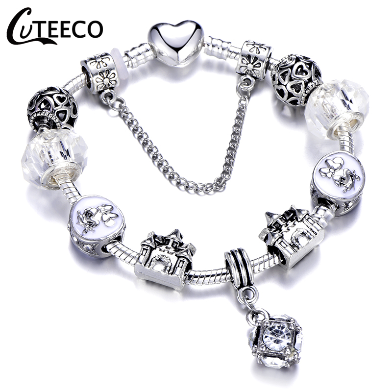 CUTEECO 925 Fashion Silver Charms Bracelet Bangle For Women Crystal Flower Fairy Bead Fit Brand Bracelets Jewelry Pulseras Mujer 28