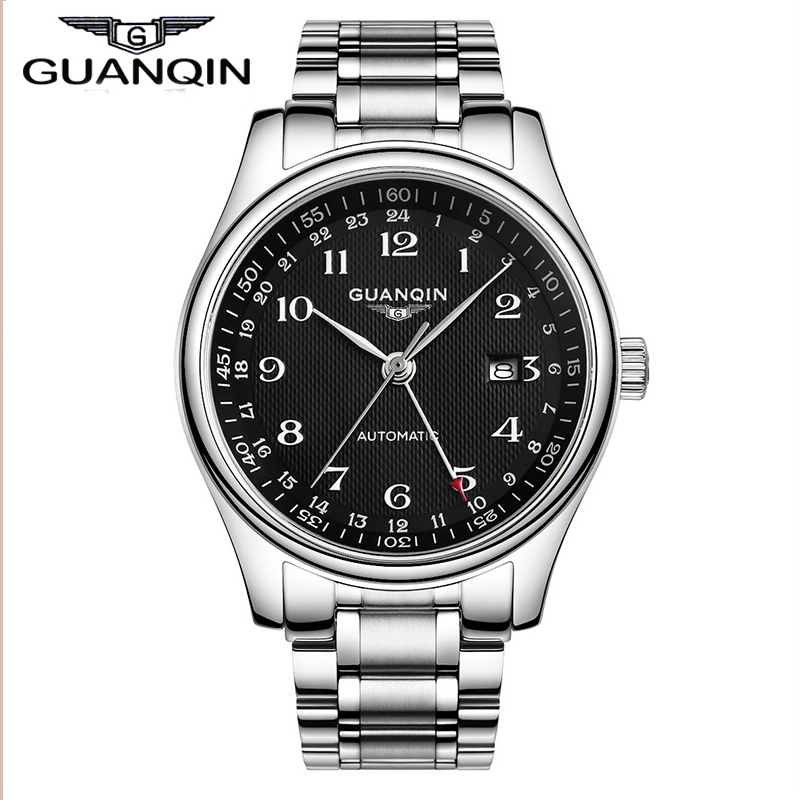 2015 Business Watches Men Luxury Brand GUANQIN Men Wristwatches automatic Mechanical Watches Gold Black Watches oem 2015 j 60cmhm385 gold watches
