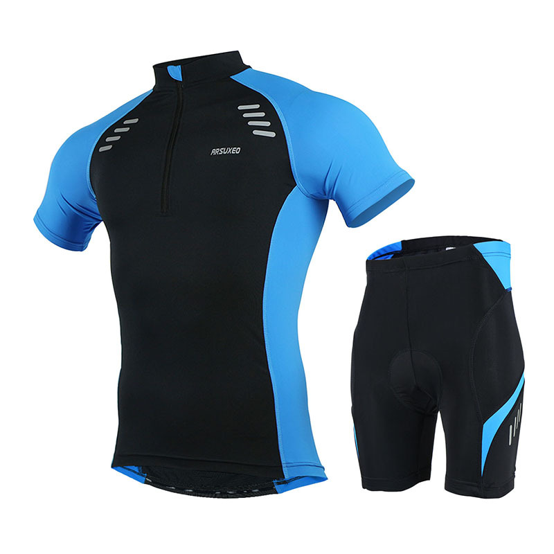 2016 ARSUXEO Mens Cycling Short Sleeve Set Downhill Outdoor Sport MTB Jersey Bike Bicycle Suits  Biking Shirts Clothing Sets