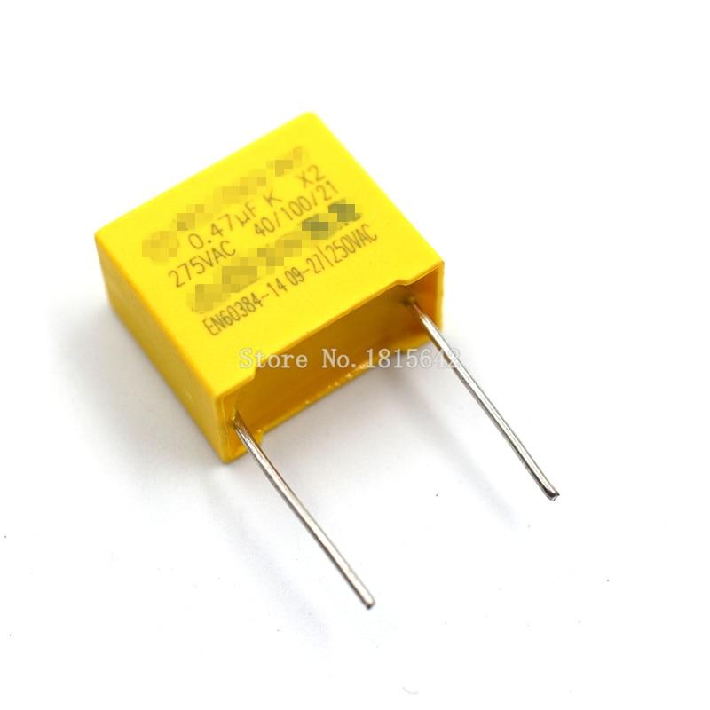 10PCS/LOT Safety Capacitor 275VAC 474 0.47UF 275V Pitch 15mm Polypropylene Film Capacitor Capacitance